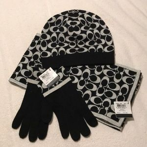 New with Tags Coach Set - gloves, scarf, and hat.